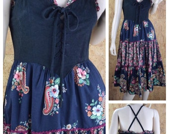 Vintage 1970's YOUNG EDWARDIAN Paisley Peasant Hippie Boho Laced Corseted Prairie Sun Dress Size S