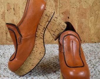 Men's Sz 9 - Vintage 1970's EL PADRINO Brown Cork HUGE Platform Slip On Disco Shoes
