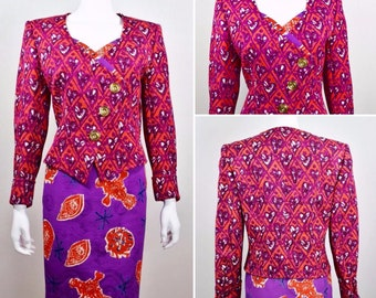 Vintage 1990's Women's Couture ~ Christian Lacroix ~ Fuchsia & Purple Hearts PoP ArT 2 Piece Skirt Suit Jacket Blazer 12 L 43