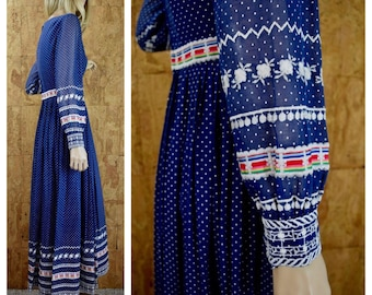 Vintage 1960's | 70's CARLYE Blue Polka Dot Embroidered Flower Ribbon Hippie Boho Party Dress Size S M