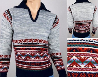 Vintage 1970's COLLAGEMAN ReTrO AzTeC Native SpAcE DyE STripeD Knit HiPPiE Sweater S