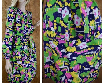 Vintage 1970's Lanz Original Women's MOD Star Tulip Flower Cloud House Tree Fish Colorful Novelty Hippie Go-Go Mini Dress Size S M