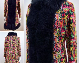 Vintage 1960's 70's Colorful Rainbow Needlepoint CarPet TaPeStrY  SHEARLING Sheepskin Fur TriMMeD HiPPiE BoHo Chic Full Length Coat