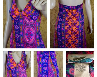 SOLD - Do Not Buy - Reserved for D. - Vintage 1970's PSYCHEDELIC Hawaiian Hippie Boho Halter Maxi Beach Dress