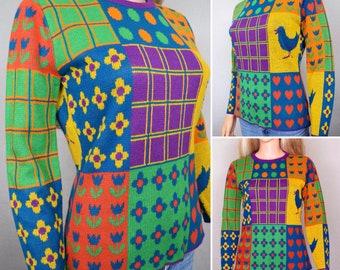 Vintage 1970's Women's Patchwork PoP ArT Heart Polka Dot Bird Novelty Color Blocked  HiPPiE MOD Sweater Size  M