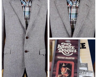 NWT Vintage 1970's  / 80's Men's Kenny Rogers Western Collection Tweed Wool Hipster Blazer Sport Coat Suit Jacket Size 42 Long