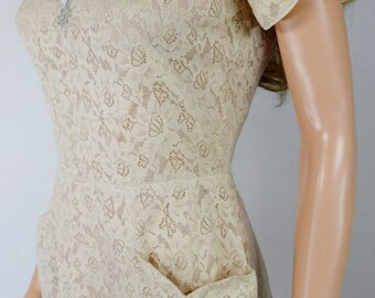 Vintage 1940's 50's Crewel Embroidered Beaded Lace VLV Wiggle Sexy Midi Dress Pin Up S M