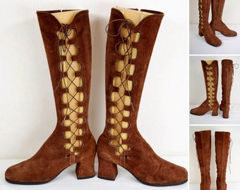 Vintage 1960's Gladiator Brown Suede Leather Tall Knee High Side Lace Up Go Go Boots Mod Hippie Boho Size 8