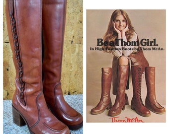 Sz 6.5 - Vintage 1970's THOM McAN Brown Leather Western Braided Tall Hippie Boho Campus Boots Size 6 1/2 B