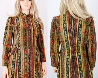 Vintage 1960's 70's Needlepoint Tapestry HiPPiE BoHo San Francisco Jacket Coat Size S M