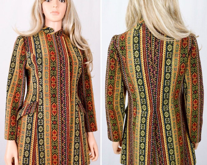 Featured listing image: Vintage 1960's NeeDLe PoiNt CaRpEt TapesTry MoD HiPPiE BoHo San Francisco Coat Jacket Size S M