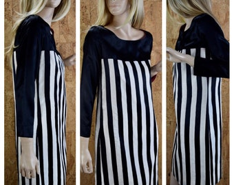 Vintage 1960's | 70's Corky Craig Black & White Striped Go-Go Ultra MOD MINI Dress Size S M