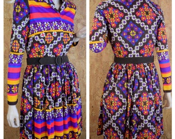 Vintage 1960's | 70's YOUNG SOCIETY Psychedelic Neon Aztec Mod Hippie Knit Mini Dress Size XS