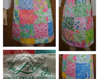 Vintage 1970's The Lilly Pulitzer Patchwork Tropical Kitten Butterfly Bird Animal Seashell Print Hippie Boho Mini Skirt Size 6 S / XS