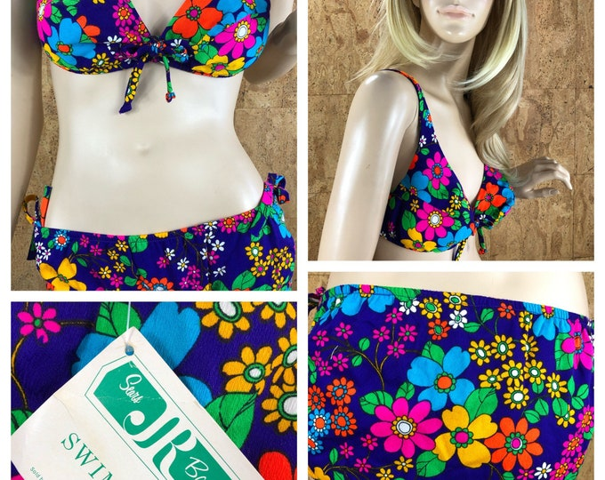 Featured listing image: NWT - Vintage 1960's Sears Jr. Bazaar NEON Psychedelic Flower Hawaiian Barkcloth Hippie Mod Swimsuit 2 Pc. Bikini Size M
