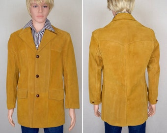 Vintage 1970's Men's Butterscotch Suede Leather Yoked Western Rancher HiPPiE HiPsTeR Car Cost Jacket Size M 44