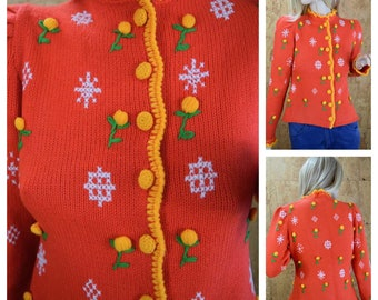 Vintage 1970's Women's Kitch Winter Snowflake Flower Whimsical HiPPiE Cardigan  Sweater Size S / M