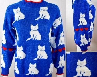 Vintage 1980's Sparkly Tinsel Metallic Blue with White Cats and Red Hearts Over siZed Novelty Pop Art Sweater M L