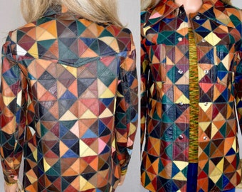 Deadstock Vintage 1970's Women's Rainbow PaTcHwOrK Leather Size S HiPPiE Rock Star DiScO Western Jacket New with Tags