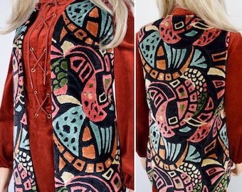 Sale - Vintage 1960's 70's Women's Psychedelic CheniLLe CaRpEt TaPeStrY HiPPiE BoHo MOD Vest M