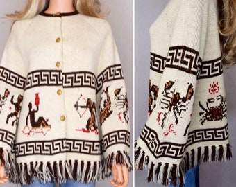 Vintage 1970's ZoDiaC Horoscope AsTroLoGiCaL HiPPiE AsTroLogY Knit Belled Sleeve Sweater Cape