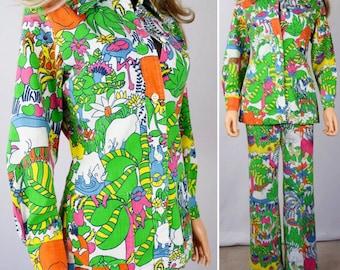 Vintage 1960's 70's Cartoon AniMaLs Zebra Elephant Turtle Novelty GoLf Pants & Jacket Suit 2 pc Outfit Size M
