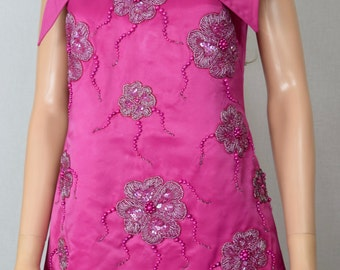 Vintage 1960's Women's Pink Flower Appliqued Beaded Embroidered MOD Satin Mini Formal Party Dress Size S M