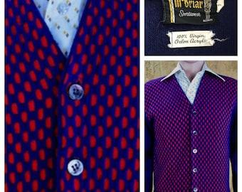 Vintage 1950's Men's McBriar Sportswear MOD Hipster Knit Cardigan Sweater Size S 40