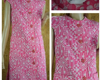 Vintage 1960's | 70's Rontini Pink & White CHECKERED Striped Polka Dot Daisy Flower Knit MOD Go-Go Hippie Mini Dress Size S