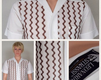Vintage 1960's Men's Leonardo Strassi ULtrA MOD Zig Zag Mad SpAce aGe AtOmiC Men Shirt Size S 40