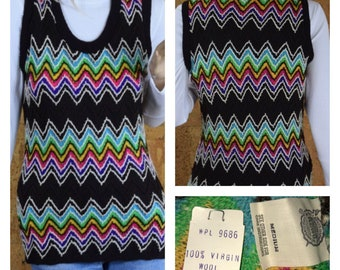 NWT - Vintage 1960's Women's Rainbow Zig-Zag Chevron Striped MOD Beatnik Hippie Wool Knit Sweater Vest Size M - New with Tag