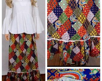 Vintage 1960's 70's Sears Jr. Bazaar Patchwork Print Prairie BoHo HiPPiE Skirt M 13 28