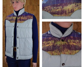 Vintage 1970's Men's Western Mountain Photo Print Yoked Hippie Hipster Puffer Ski Vest Size M