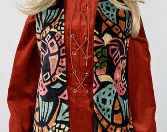 Vintage 1960's 70's Women's Psychedelic CheniLLe CaRpEt TaPeStrY HiPPiE BoHo MOD Vest M