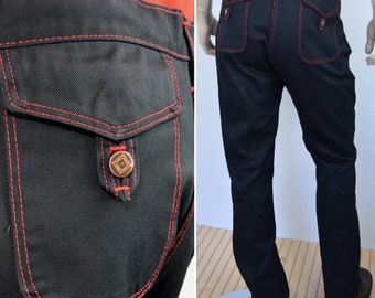 Deadstock - Vintage 1970's / SEARS JEANS JOINT / Black Denim Jeans Red Overstitching MoD HiPsTeR RoCker Mens 36 x 33 New with tags