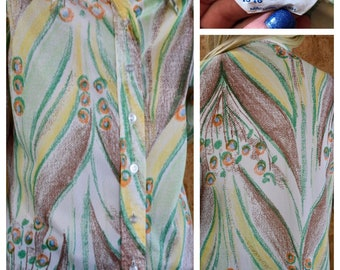Vintage 1970's Mr. Dino Peacock Feather Patterned Hippie Boho Disco Shirt Blouse L