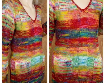 NOS Vintage 1980's Women's BOBBIE BROOKS Space Dyed Rainbow Knit Hippie Boho Tunic Sweater Size S New With Original Tag - Never Worn