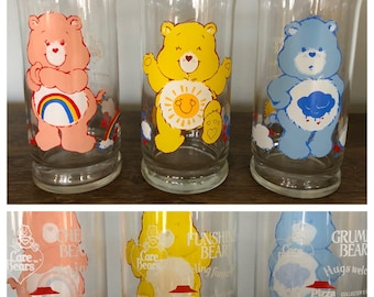 Vintage 1983 CARE BEARS Pizza Hut Promotional Drinking Glasses - Set of (3)