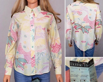 Deadstock - Vintage 1970's Women's  Bobbie Brooks Asian Hawaiian Print Patterned HiPPiE BoHo DisCo Shirt size L  - New With Tags -