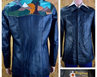 Vintage 1970's Seigfried of Spain Men's Patchwork Tree Mountain Black Leather Yoked Disco Western Hippie Hipster Jacket Size 40 S