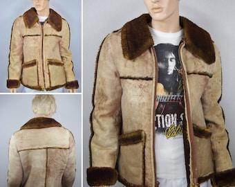 Vintage 1970's Men's Lakeland Bomber Flight Brown Shearling Sheepskin Fur Leather Hippie Rancher Jacket Size 42