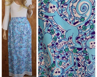 Vintage 1970's LILLY PULITZER MONKEY Crocheted Lace Maxi Skirt Size M