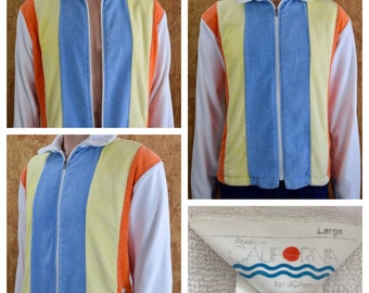 Vintage 1970's Men's JCPenny's Striped Plush Terry Cloth Surfer Beach Cabana Pool Jacket Size L 46
