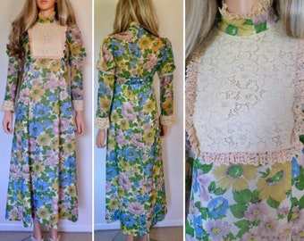 Vintage 1960's Women's  Bibbed SuNFLoWeR & PoPPy HiPPiE BoHo Crocheted CoTToN Lace Edwardian Prairie Dress WooDsToCk S M