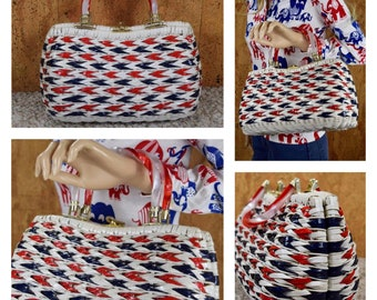 Vintage 1960's SIMON Styled by Mister Ernest - Hong Kong - Red White & Blue - MOD Wicker Kitch Candy Striped Lucite Top Handle Handbag Purse