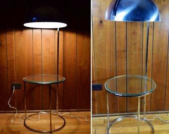 Vintage MCM 1970's Chrome Dome Floor Lamp with Table Panton Era Atomic Mod Space Age