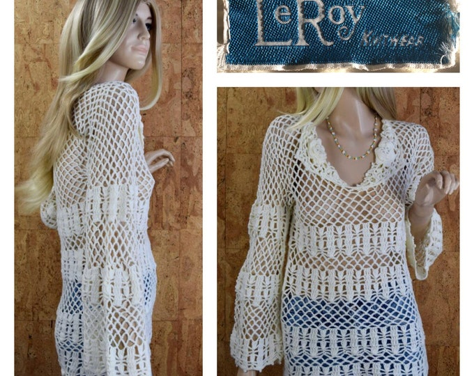 Featured listing image: Vintage 1970's Women's LeRoy Knitwear Ivory Crocheted Knit Netted Bell Sleeved Rose Beach Cover-up Festival Hippie Boho Tunic Top Sweater