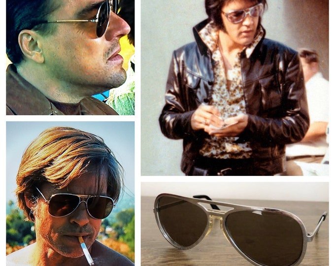 Featured listing image: Vintage 1960's | 70's Men's Chrome Made in ITALY Aviator Movie Rock Star Sunglasses - ELVIS - Very Rare