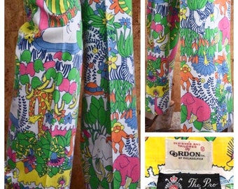 Vintage 1970's Psychedelic Cartoon Zoo Jungle Animals Zebra Elephant Turtle Hippo Hippie Novelty Golf Cotton Flared Pants Size M