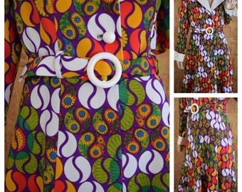 Reserved for T. - Vintage 1970's Women's Psychedelic Op Art MOD Go Go Party Dress Size  L